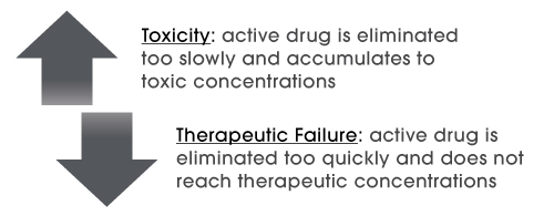 Graphic showing reaction to drug dosing with arrow pointing up to indicate toxicity, and arrow pointing down to indicate therapeutic failure.